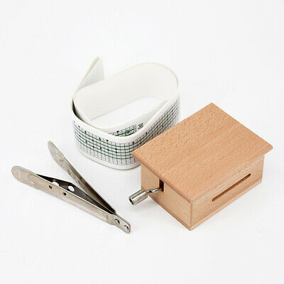 DIY Hand-cranked Music Box Wooden Box With Hole Puncher+Paper Tapes 70* 63*50mm