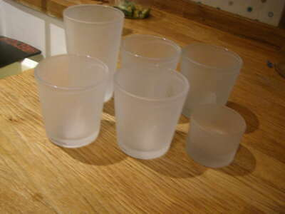 6 x frosted glass candle jars Candle making or tealight holders