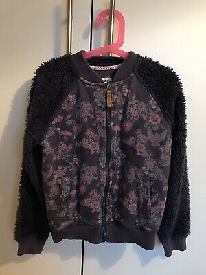 Fat Face Girls Floral Pattern Zip-up Cardigan Jumper Jacket  8-9 Years