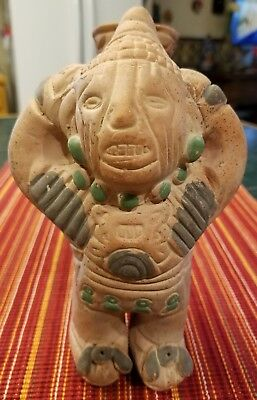 Vintage Pre-Columbian Style Vessel Of A Man Carrying A Jug Mayan Aztec Inca