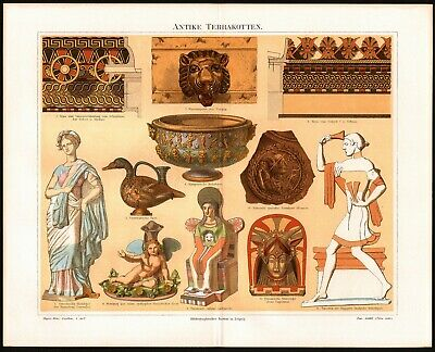 1890 Antique Print of Ancient Greco-Roman Terra Cotta - German Chromolithograph