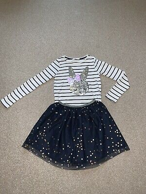 H&M Girls Party Outfit Tutu Skirt And Flip Sequin Top 9-10 Years