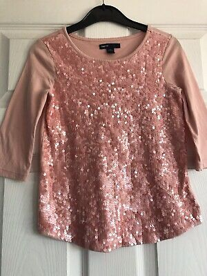 Girls Light Pink Sequin Top From Gap Age 6-7 Years