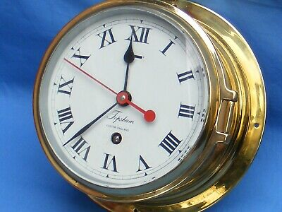 Antique/Vintage Ships 8 Day Brass Bulkhead Clock, Topsham, Exeter England