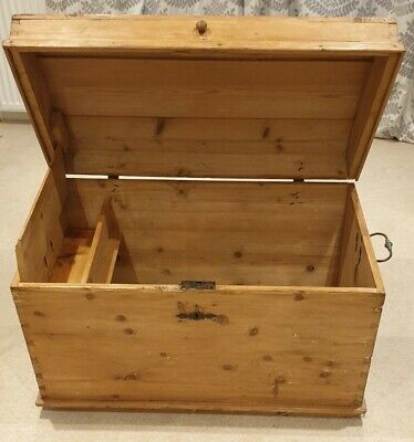 Antique Victorian Solid Waxed Pine Chest Trunk Wooden Blanket Box