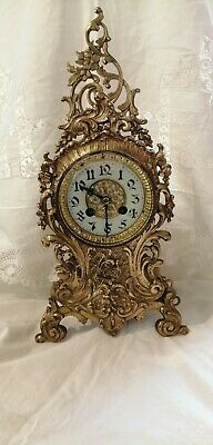 Antique Brass French Mantle Bell Strike Table clock
