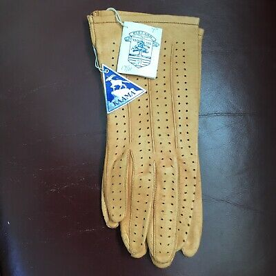 Vintage (1960's) Size 7 Ladies KAAMA Leather Gloves Brand New With Original Tags