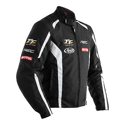 RST IOM TT Team Textile Riding Jacket - CE APPROVED - Black/White