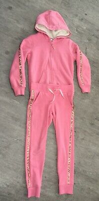 M&S Girls Age 8-9 Years Pink Tracksuit Lounge Wear Hooded Jacket Trousers Used