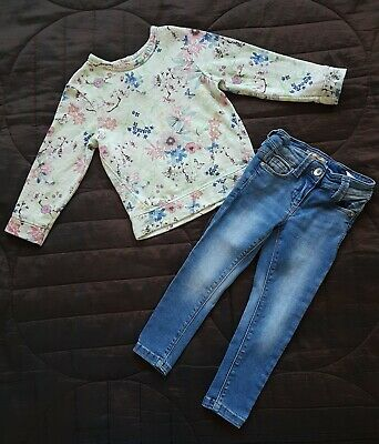 Girls Next Floral Jumper And Jeans 2-3 Years