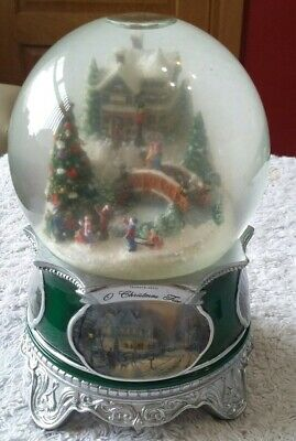 Thomas Kinkade O Christmas Tree Musical Lights Snow Globe Christmas Ornament