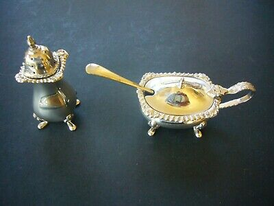 EPNS SILVER PLATE SALT PEPPER CRUET SET W&H WALKER & HALL VINTAGE ORIGINAL 20thC