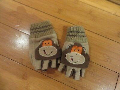 childs boys finger less gloves change to mittens 7-9 years beige brown monkey