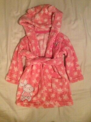 Baby George Pink Rabbit Dressing Gown Aged 6-12 Months