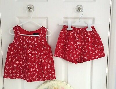 Brand NEW Girls GAP Top & Short Set Co-ord Red White Floral 4 Years