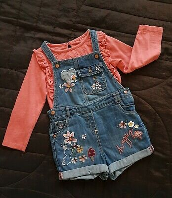 Girls Denim Embroidered Short Dungarees And Long Sleeved Top Outfit 2-3 Years