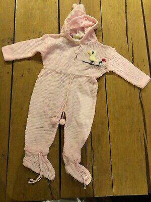 1970s Pink Vintage Knitted Baby Grow/sleepsuit Size 12months