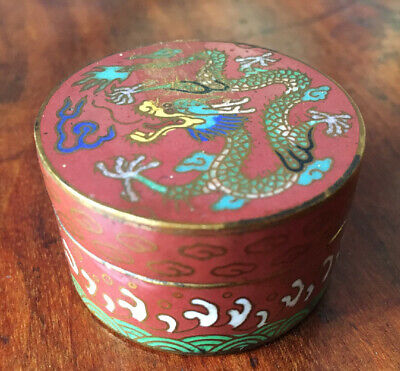 Vintage Enamel/Copper Round Asian Pill Box-Cloisonne?-Great Condition