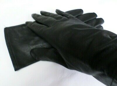 Black leather ladies gloves size M