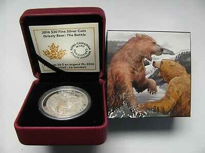 2016 Proof $20 Grizzly Bear #4-The Battle Canada .9999 silver twenty