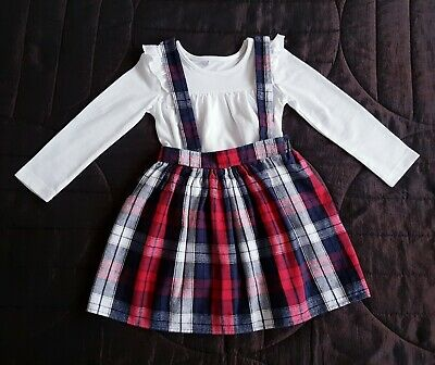 Girls George Top And Tartan Skirt With Brases Outfit 2-3 Years