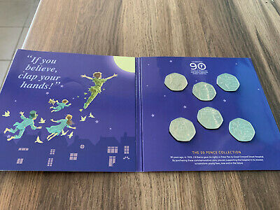 2019 Isle of Man Peter Pan Six 50p Coin Set Uncirculated Collection Sealed Pack