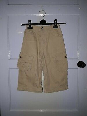 Boys Marks And Spencers Indigo Collection Long Cargo Shorts Sand Brown Age 8 Yrs