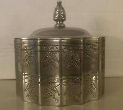 Godinger Silver 1991 Ornate Plated Jewelry Trinket Box w Lid & Red Velvet