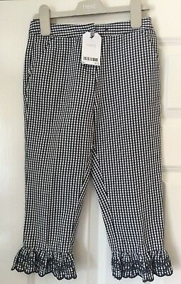 BNWT Girls Next Size 7-8 Years (128cm) 3/4 Checked Trousers