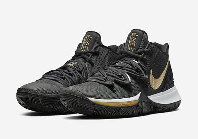 Nike MEN'S Kyrie 5 V Black White Metallic Gold BASKETBALL SIZE 10.5 BRAND NEW