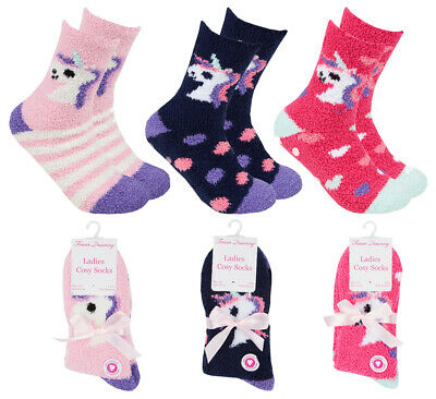 Cosy Unicorn Slipper Lounge Socks Womans Girls Non Slip Gripper Socks Gift Idea
