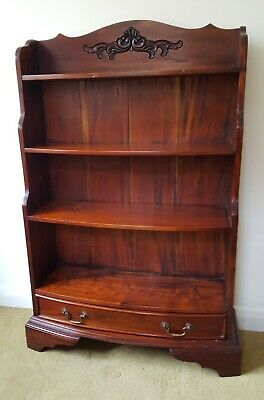 Small Vintage Bow Fronted Mahogany Bookcase With Drawer