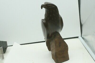 "Ironwood Carved Wood Sculpture Hawk Falcon Eagle Bird Figure Statue 9"" Tall"