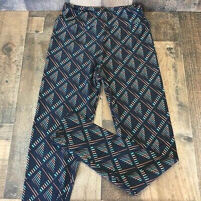 lularoe tween girls leggings one size NWOT black teal orange line design