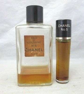 Vintage Chanel No 5 EDC perfume bottle and travel size roller