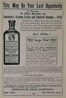 Sandholm's Eczema Lotion & Dandruff Remedy Quack Medicine Ad Advertisement 1915