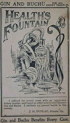 Gin And Buchu Healths Fountain Quack Medicine Ad Advertisement 1900-1915 Vintage