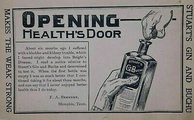 Stuart's Gin And Buchu Quack Medicine Ad Advertisement 1900-1915 Vintage