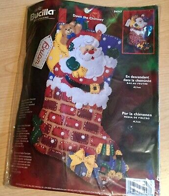 """Bucilla Christmas felt kits 18"""" New, Sewing By Numbers, Easy To Do"""