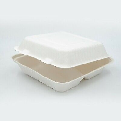 "7.8x8x3"" Sugarcane Clamshell 3-Compart Compostable Takeaway Containers - Sydney"