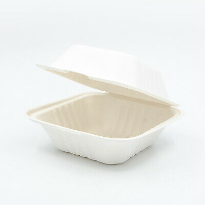 "6x6x3"" Sugarcane Clamshell Compostable Takeaway Food Containers - Sydney"