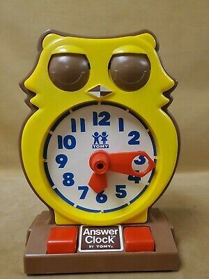 Vintage 1975 TOMY Answer Clock Owl Plastic Learning Toy