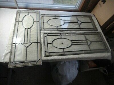 3 vintage leaded glass windows beveled centers need repairs as seen
