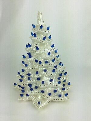 "Vintage 13"" White Iridescent Ceramic Lighted Christmas Tree w Blue Bulbs No Base"