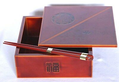 Japan Lacquer Ware Wood Box with Lid & Chopsticks Hida Shunkei Nuri Jubako Vtg