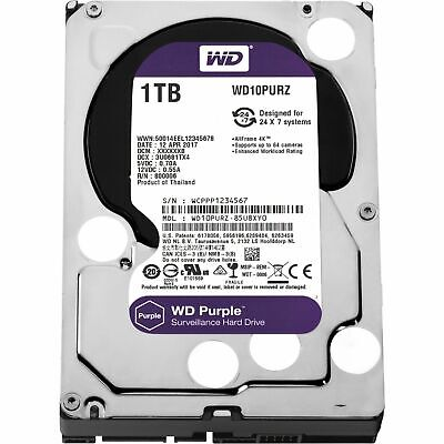 "Western Digital WD Purple 3.5"" 1TB SATA 5400RPM 64MB Surveillance Hard Drive HDD"