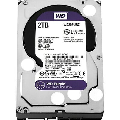 "Western Digital WD Purple 3.5"" 2TB SATA 5400RPM 64MB Surveillance Hard Drive HDD"