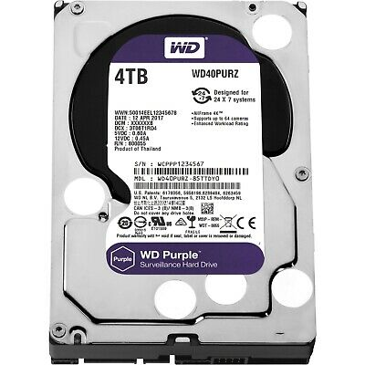 "Western Digital WD Purple 3.5"" 4TB SATA 5400RPM 64MB Surveillance Hard Drive HDD"