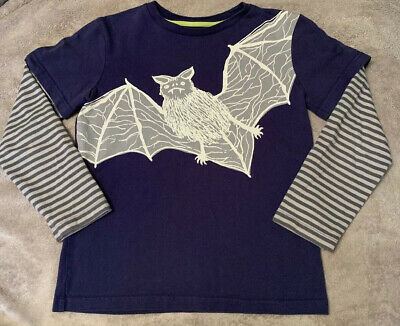 Mini Boden Boys Long Sleeve Bat Tee Shirt Striped Stripes Blue Navy Rtl $28