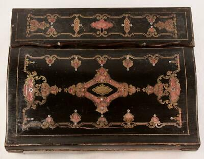 Antique 19th c. French Writing Box, Lap Desk, Chest,  Boulle, Inlaid Brass MOP